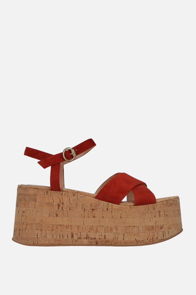 GIANVITO ROSSI: Bebe wedge sandals in velvet suede_1