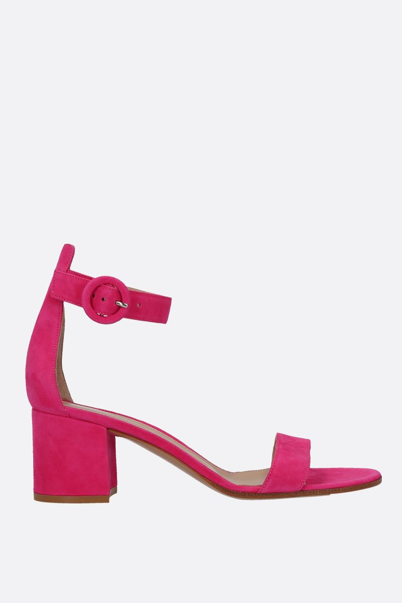 GIANVITO ROSSI: Versilia sandals in velvet suede Color Pink_1