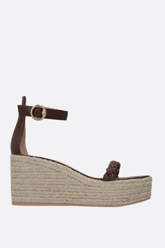GIANVITO ROSSI: woven nappa wedge sandals Color Brown_1