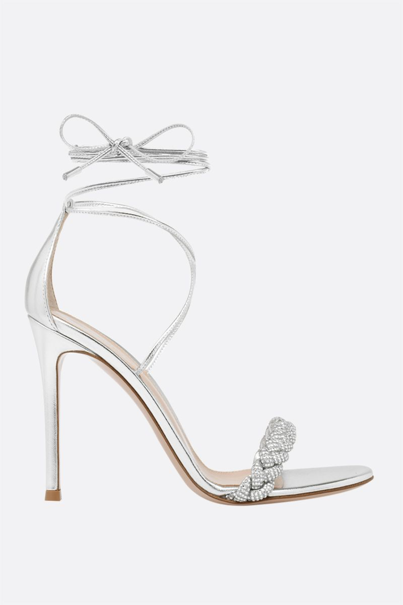 GIANVITO ROSSI: Crystal Leomi laminated leather sandals Color Silver_1