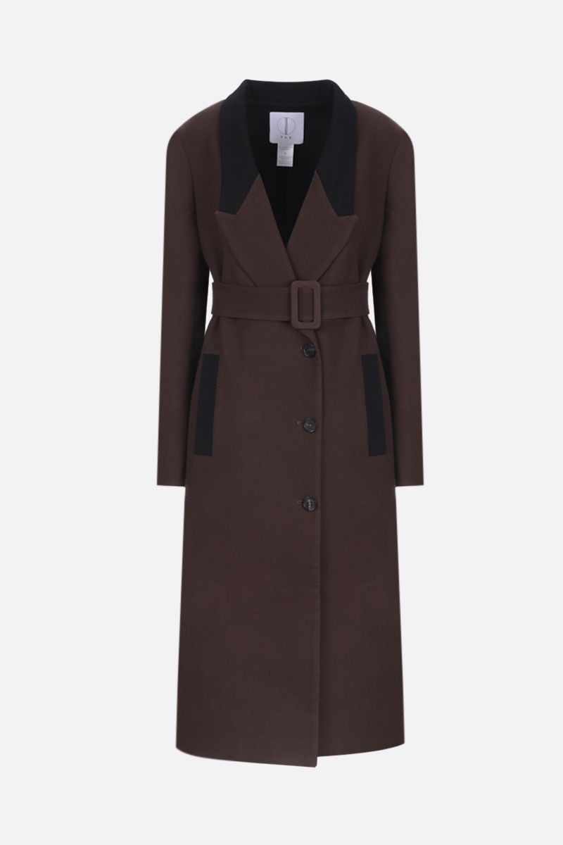 TRE by NATALIE RATABESI: single-breasted coat in cotton wool blend Color Brown_1
