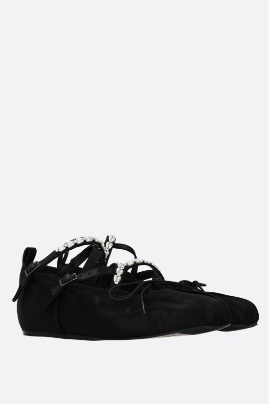 SIMONE ROCHA: pearl and crystal-embellished satin ballerinas Color Black_2