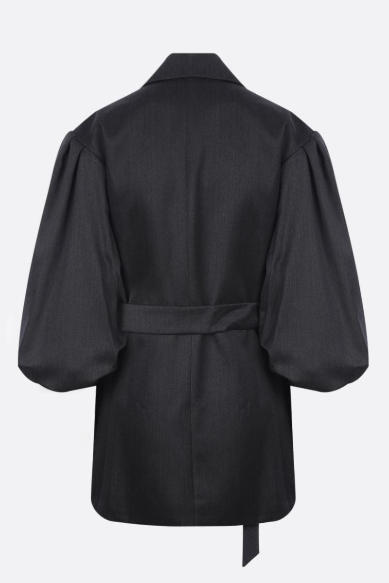 SIMONE ROCHA: Exaggerated Rose Flower double-breasted technical wool jacket Color Grey_2