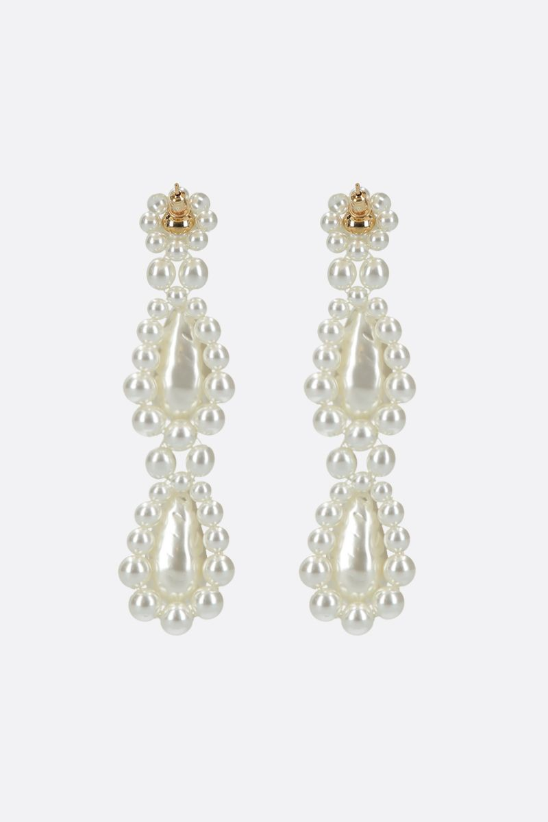 SIMONE ROCHA: bead-embellished brass short drop earrings Color Grey_2
