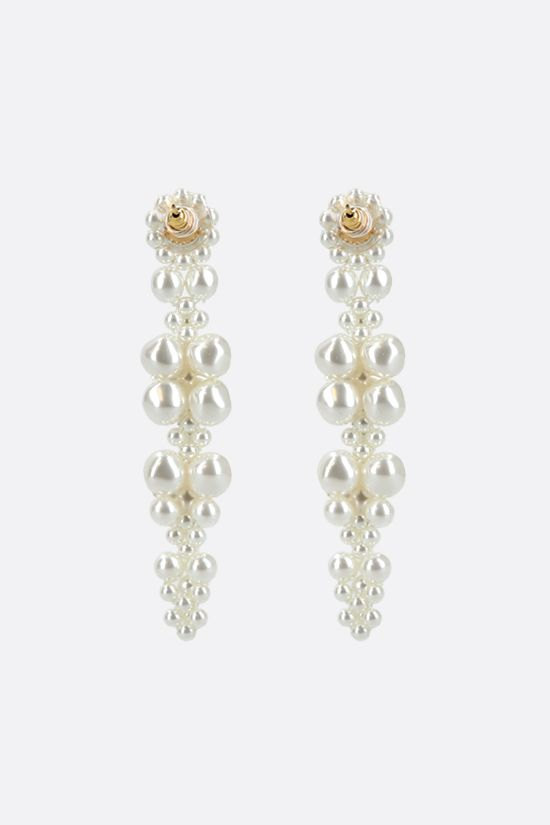 SIMONE ROCHA: Cluster Drip pearl-embellished metal earrings Color White_2