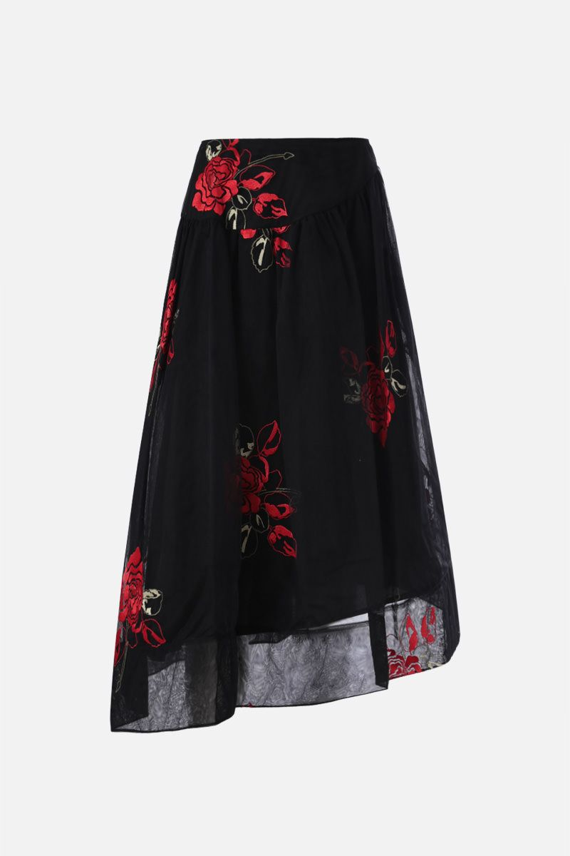 SIMONE ROCHA: floral embroidered tulle circle skirt Color Black_1