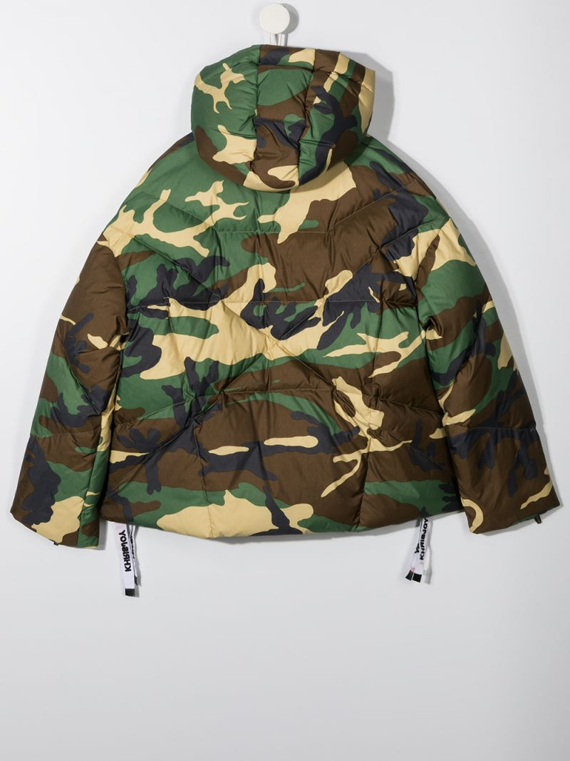 KHRISJOY KIDS: logo-detailed camouflage print nylon down jacket Color Green_2