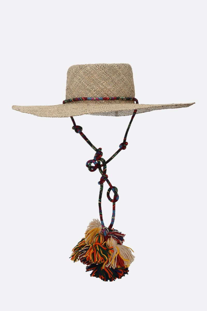 RUSLAN BAGINSKIY: tassel-detailed straw hat Color Neutral_1