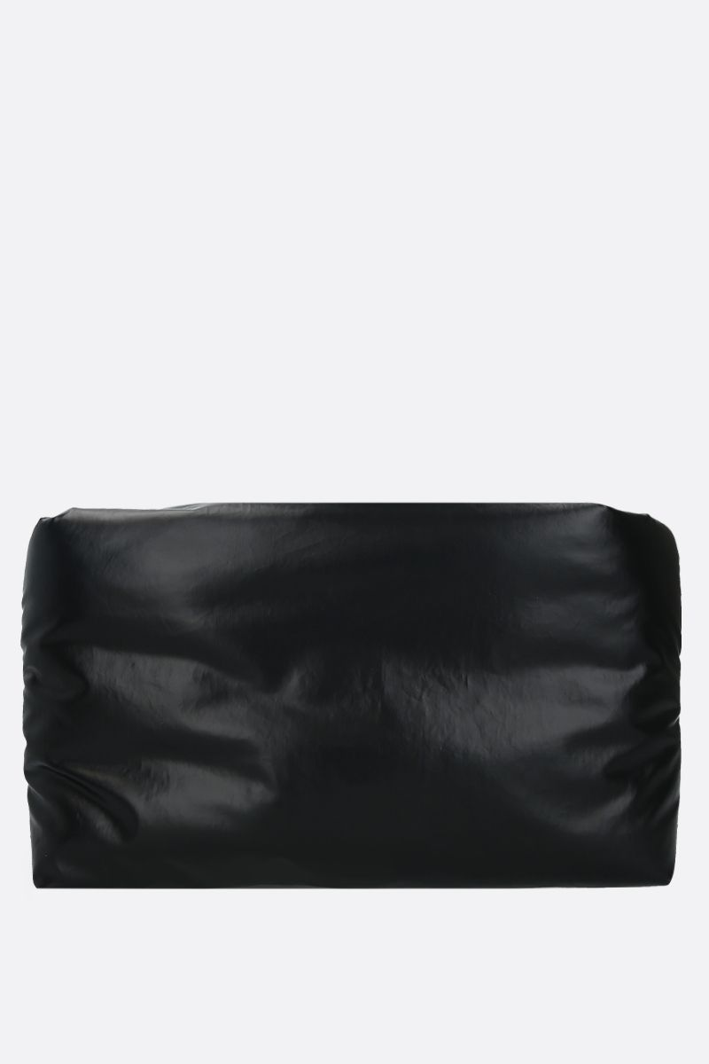 KASSL EDITIONS: Oil Light coated canvas padded clutch Color Black_1