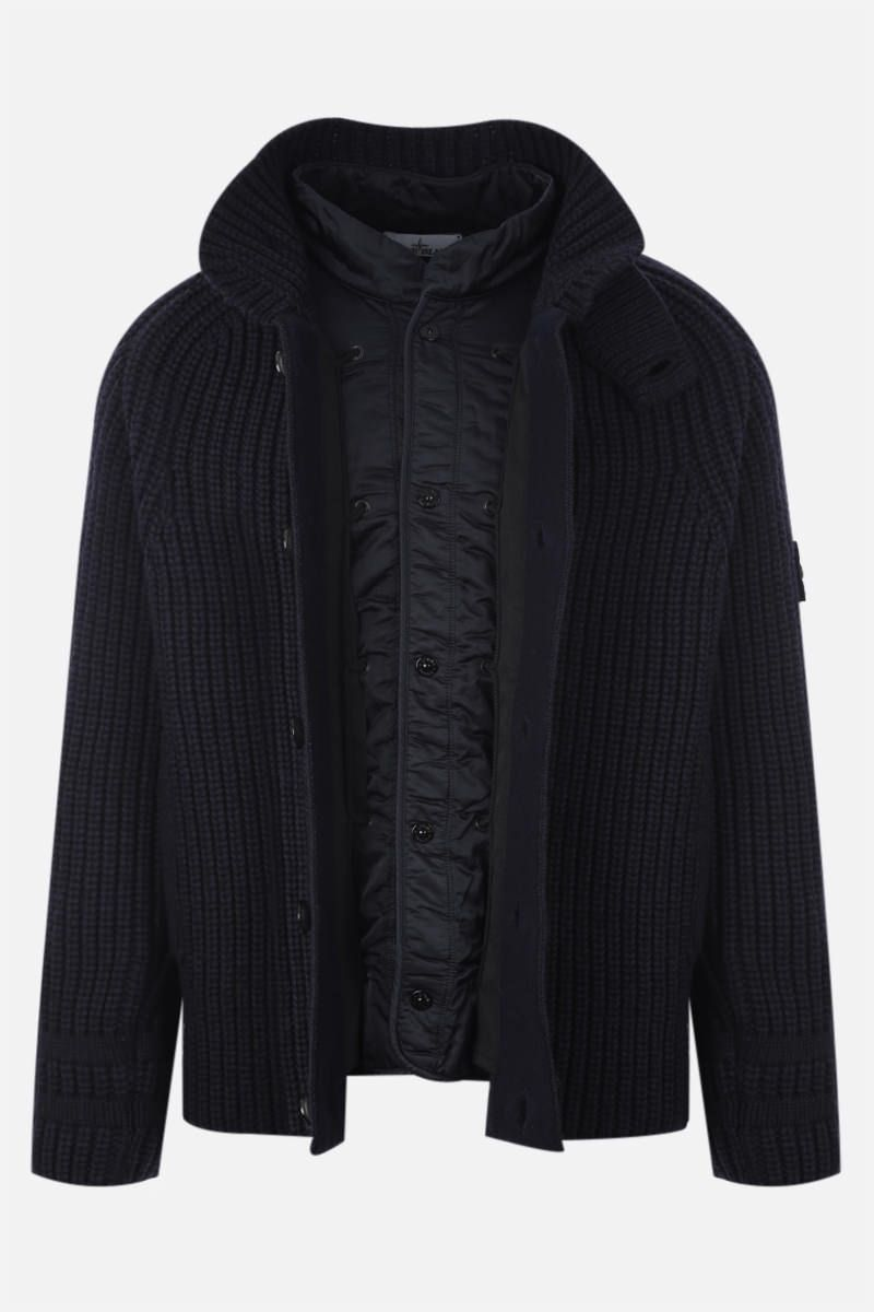 STONE ISLAND: knit jacket with detachable lining Color Blue_2