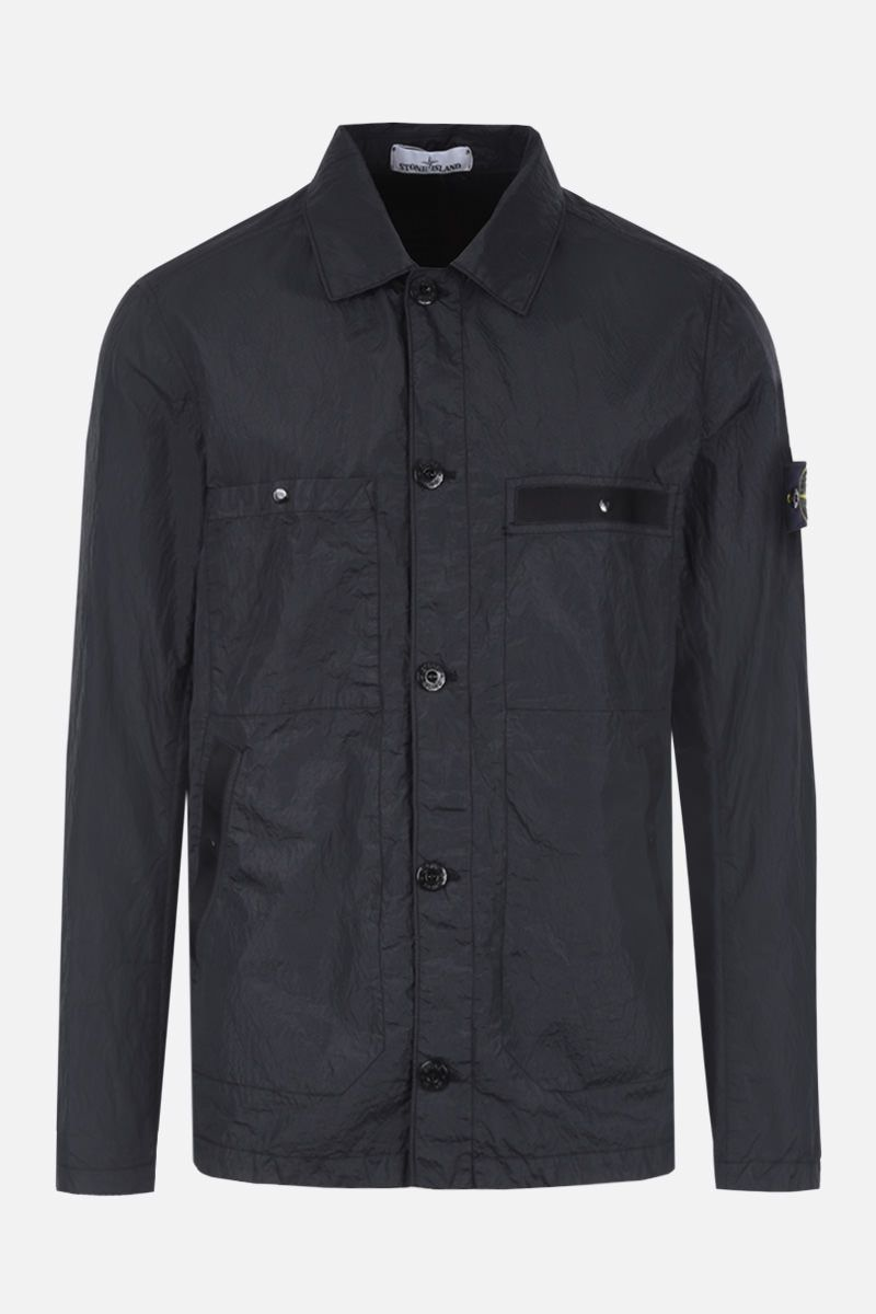 STONE ISLAND: Seersucker-TC fabric overshirt Color Black_1
