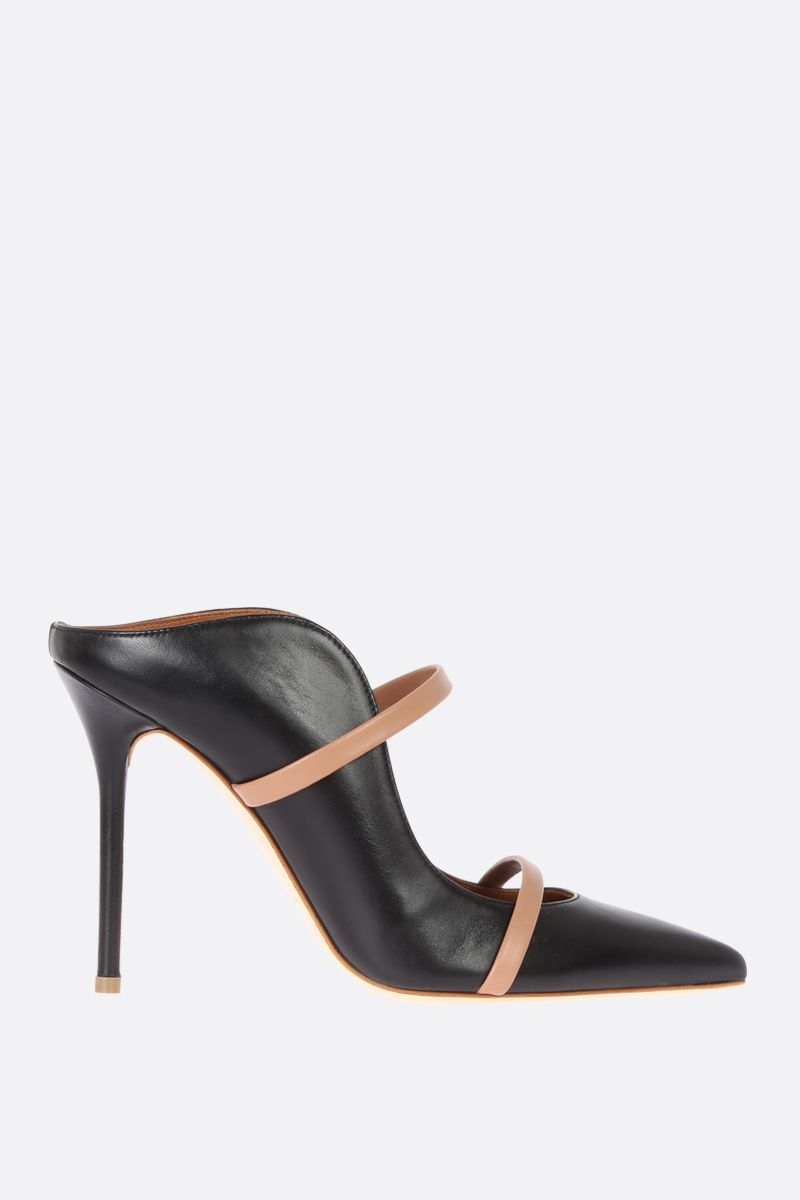 MALONE SOULIERS: Maureen mules in bicolour nappa Color Black_1