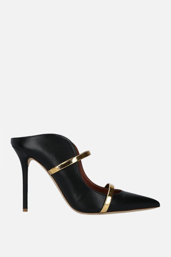MALONE SOULIERS: Maureen nappa and laminated leather mules Color Black_1