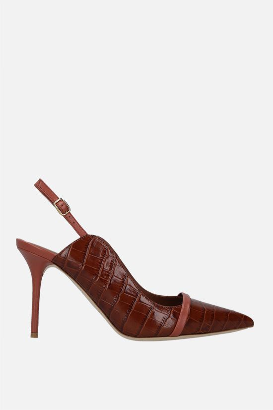 MALONE SOULIERS: Marion crocodile embossed leather slingbacks Color Neutral_1