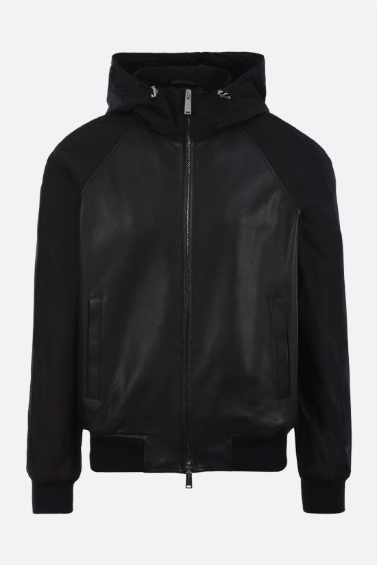 DSQUARED2: nappa and nylon bomber jacket Color Black_1