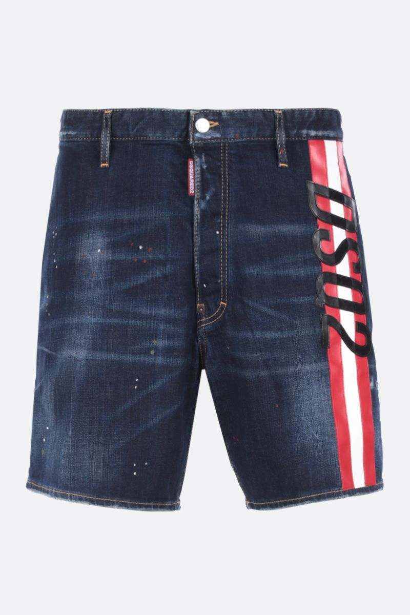 DSQUARED2: stretch denim shorts with logoed band Color Blue_1