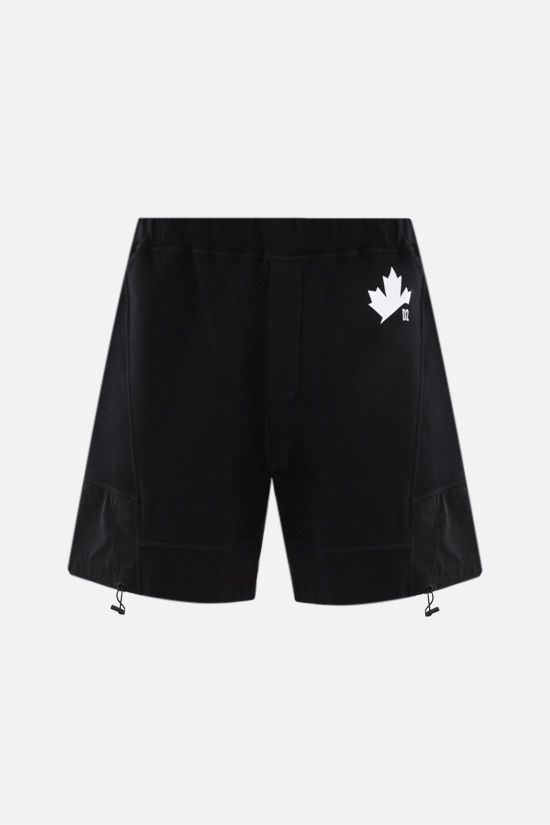 DSQUARED2: Canadian Leaf print cotton shorts Color Black_1