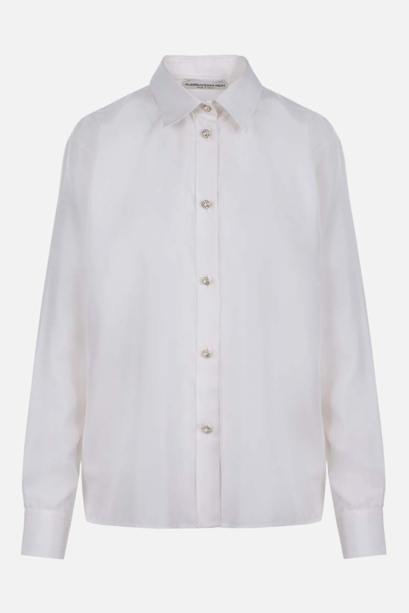 ALESSANDRA RICH: jewel button-detailed silk shirt Color White_1
