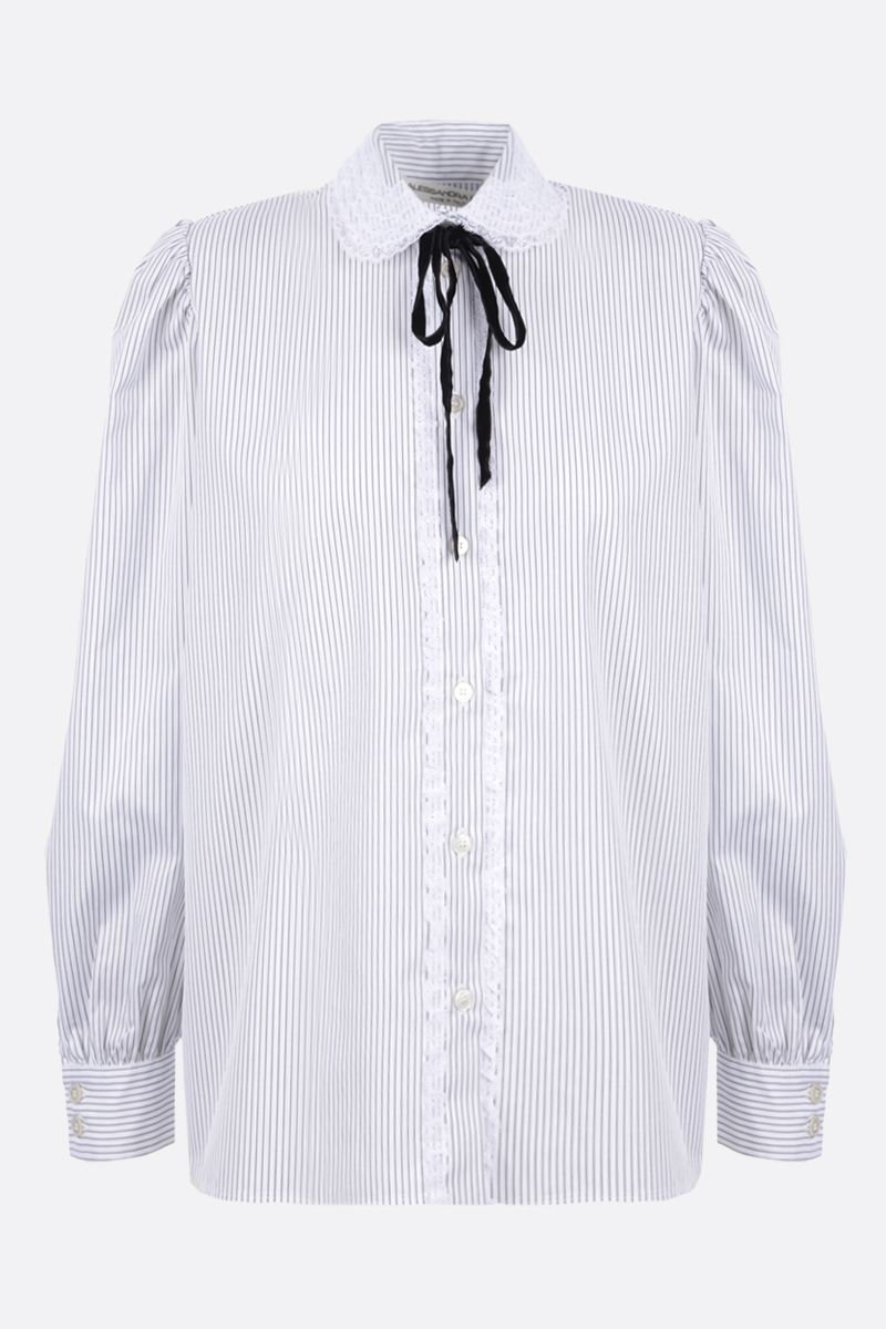 ALESSANDRA RICH: lace-embellished striped cotton shirt Color White_1