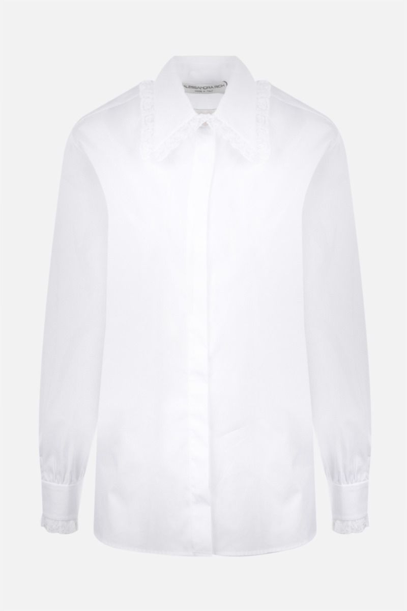 ALESSANDRA RICH: lace-embellished cotton shirt Color White_1