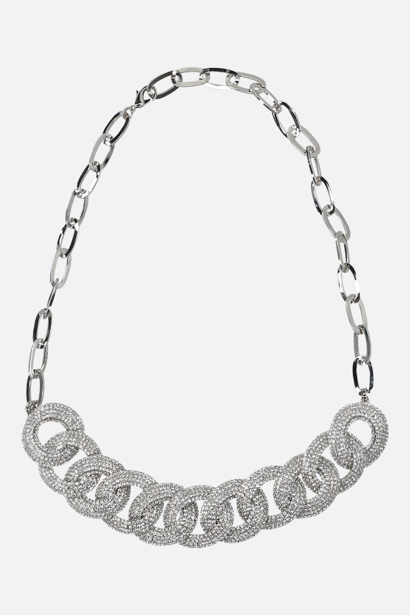 ALESSANDRA RICH: crystal-embellished metal chain belt Color Silver_1