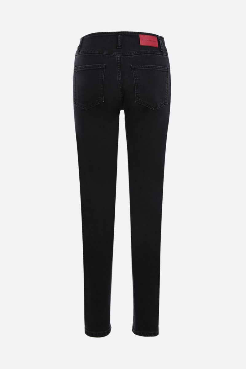 ALESSANDRA RICH: jewel button-detailed skinny jeans Color Black_2