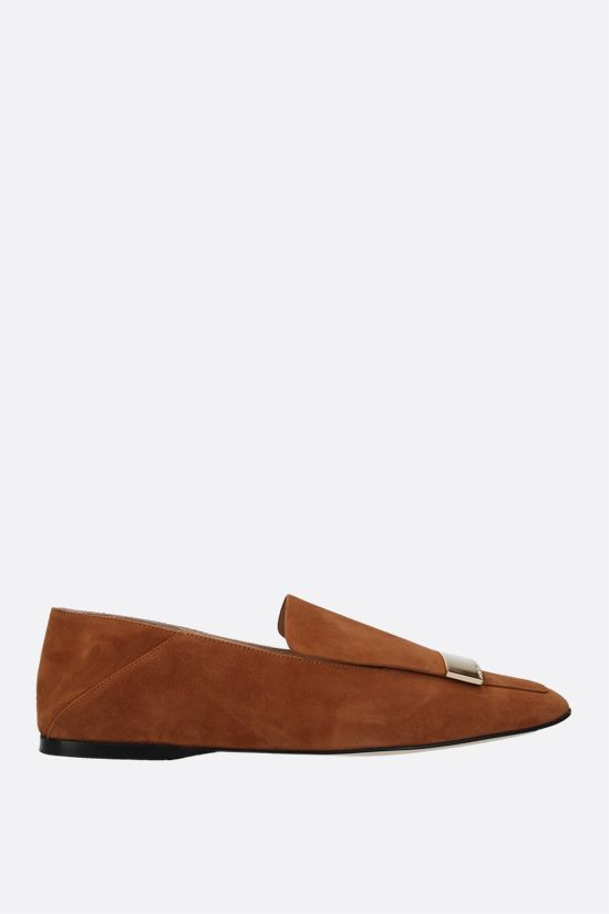 SERGIO ROSSI: sr1 suede slippers Color Brown_1