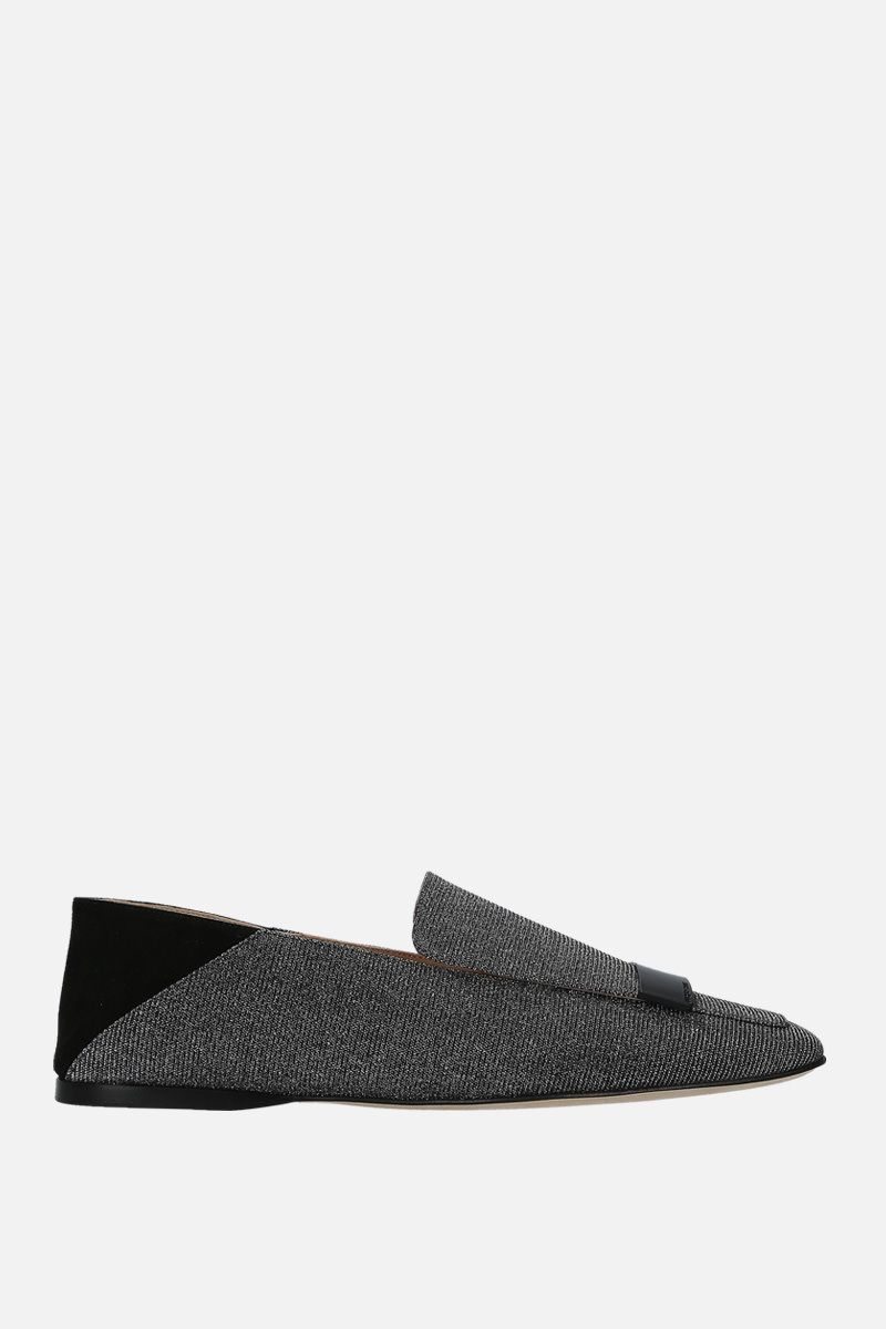 SERGIO ROSSI: sr1 lurex and suede slippers Color Silver_1