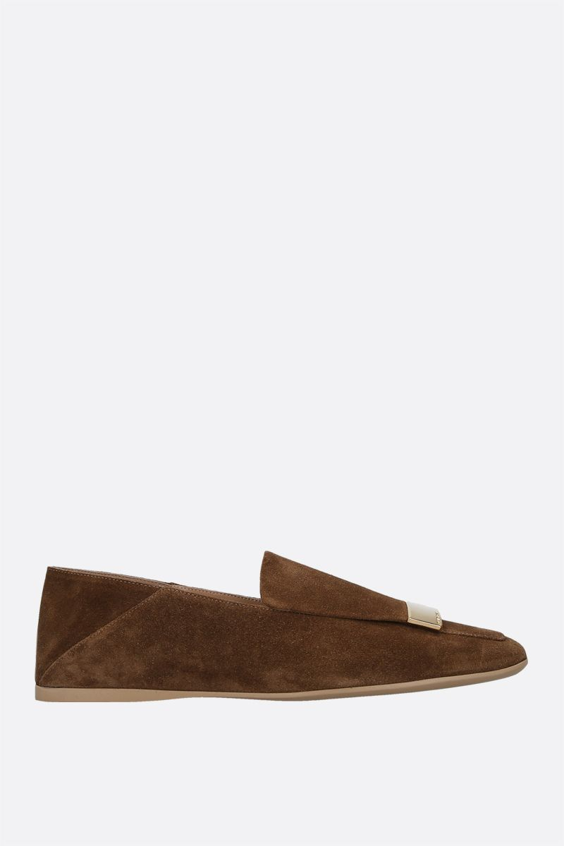 SERGIO ROSSI: SR1 suede slippers Color Neutral_1