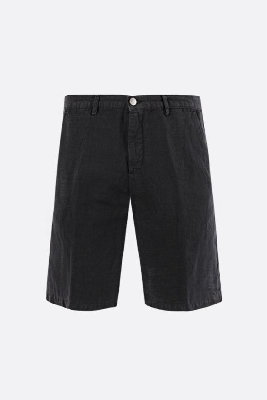 MASSIMO ALBA: Vela linen cotton blend shorts Color Black_1
