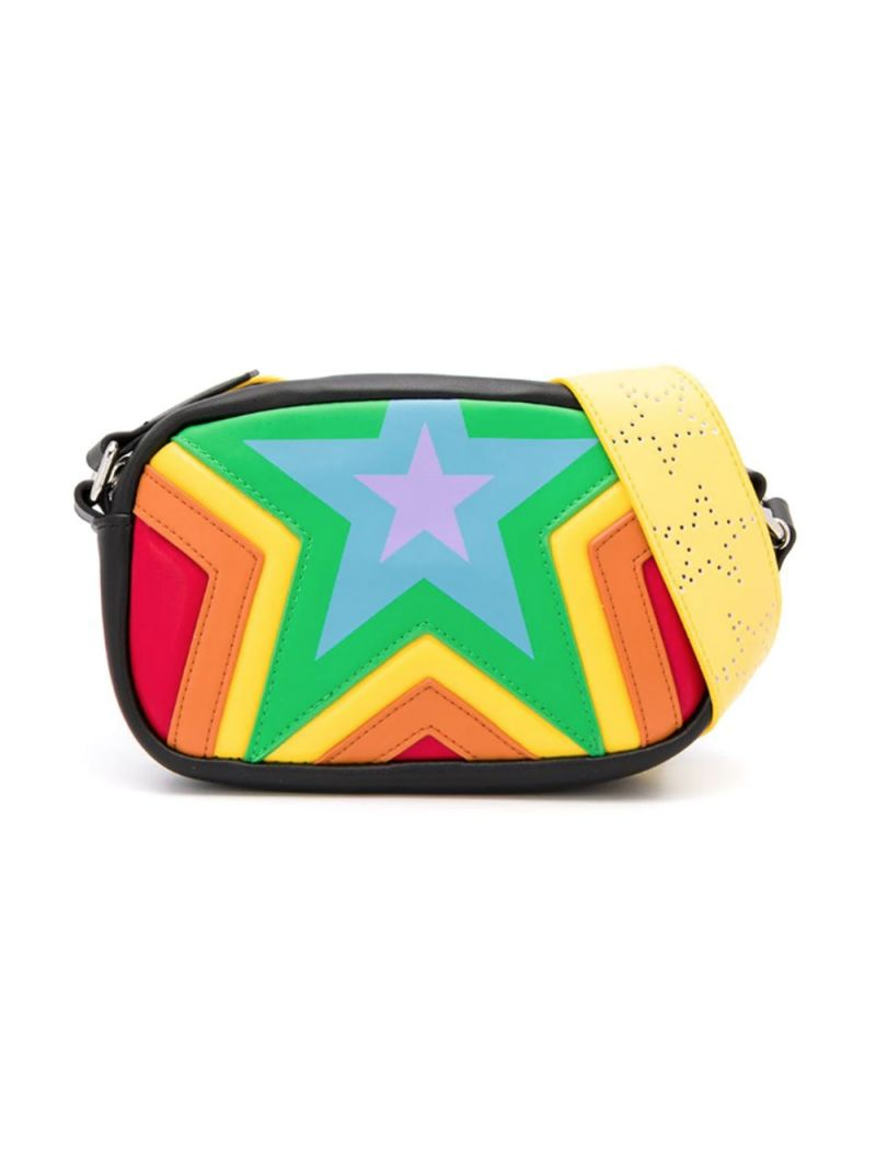 STELLA McCARTNEY KIDS: stars print faux leather crossbody bag Color Multicolor_1