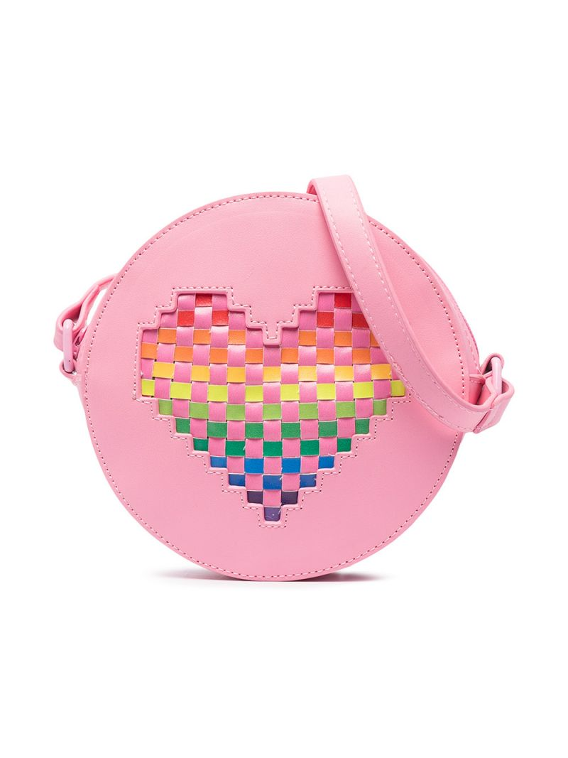 STELLA McCARTNEY KIDS: heart-detailed faux leather shoulder bag Color Pink_1