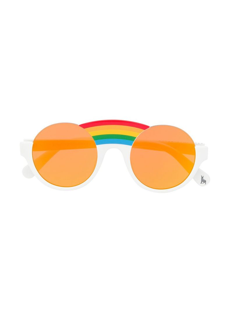 STELLA McCARTNEY KIDS: Rainbow-detailed acetate sunglasses Color White_1
