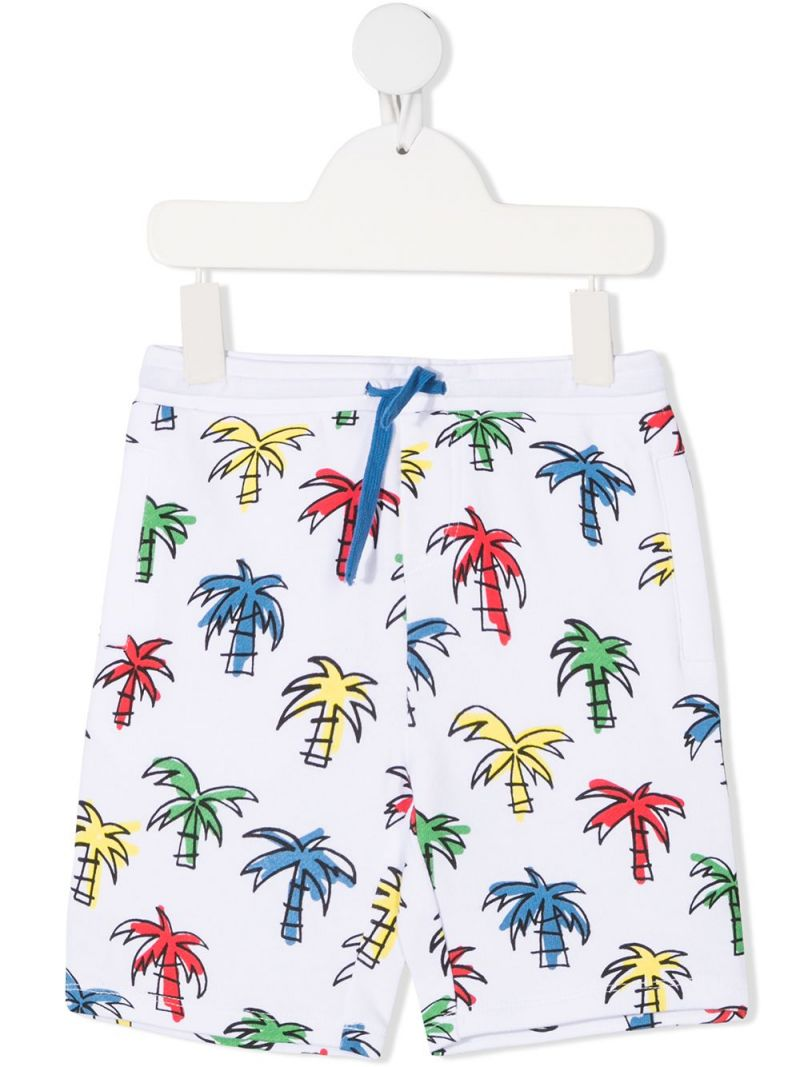 STELLA McCARTNEY KIDS: palms print organic cotton shorts Color White_1
