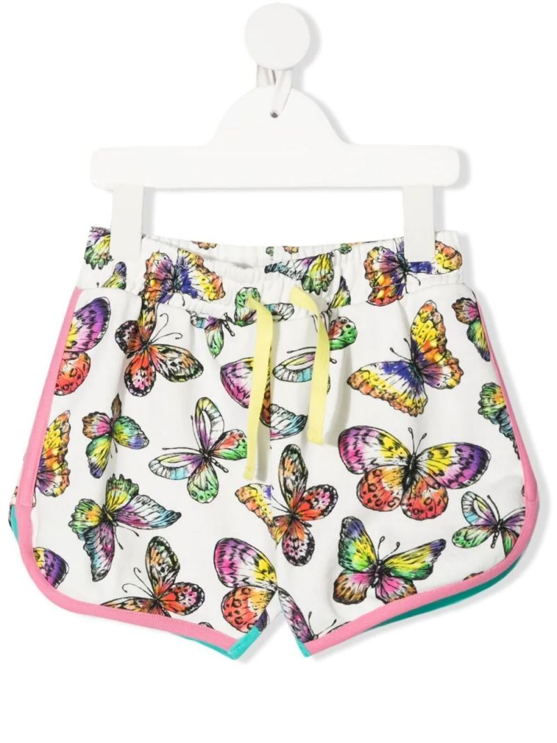 STELLA McCARTNEY KIDS: butterfly print cotton shorts Color White_1