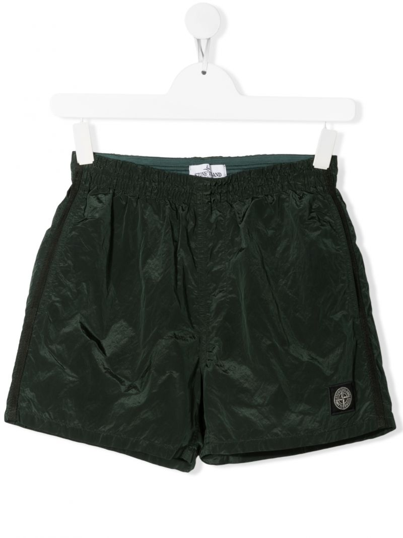 STONE ISLAND JUNIOR: logo-detailed nylon swim shorts Color Multicolor_1