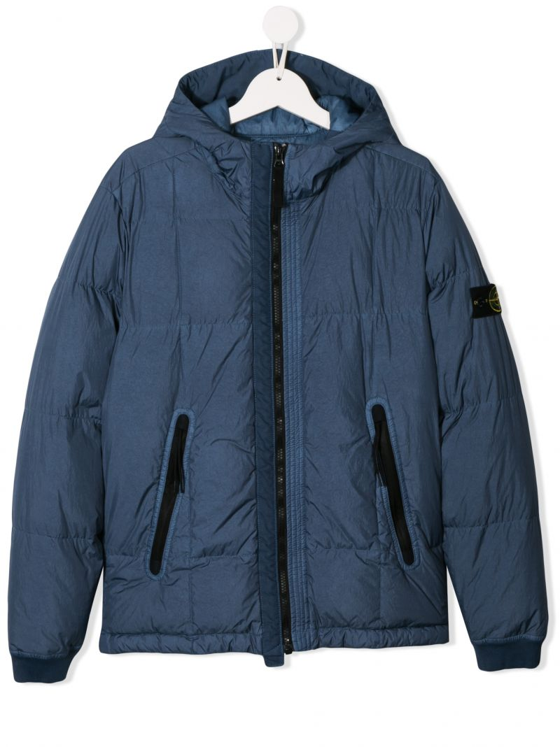 STONE ISLAND JUNIOR: technical fabric down jacket with logo badge Color Blue_1