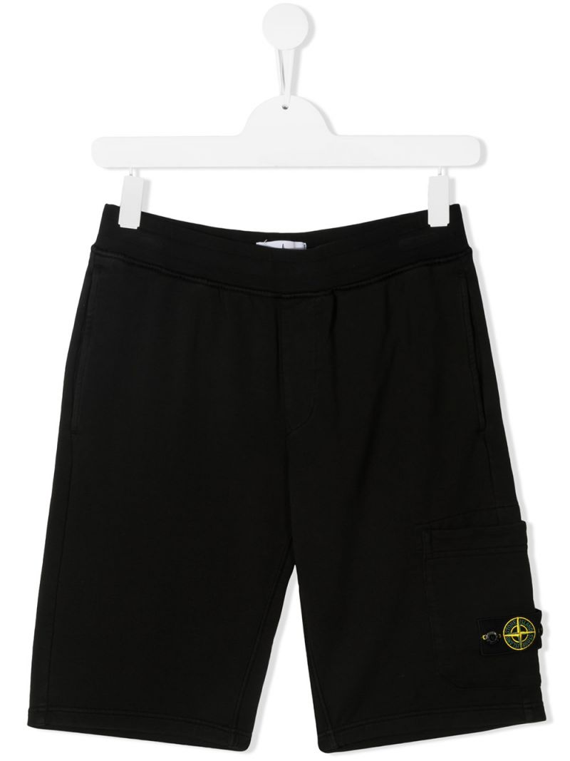 STONE ISLAND JUNIOR: logo badge-detailed cotton shorts Color Black_1