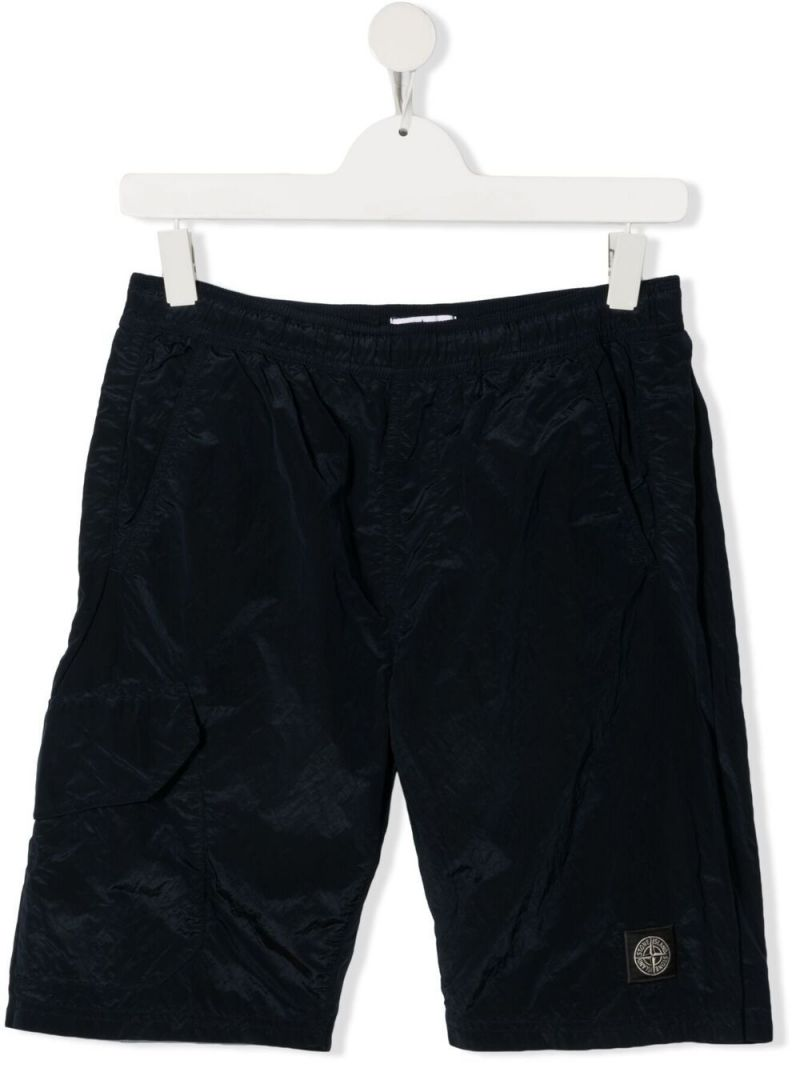 STONE ISLAND JUNIOR: logo patch nylon shorts Color Blue_1