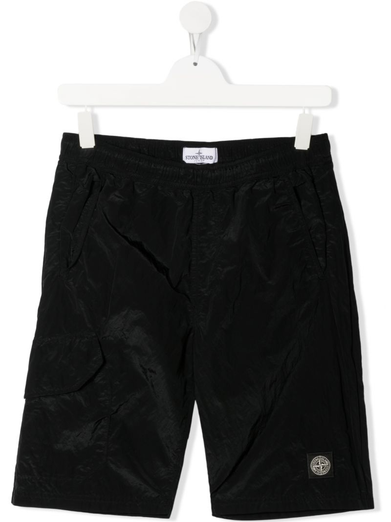 STONE ISLAND JUNIOR: logo patch nylon shorts Color Black_1
