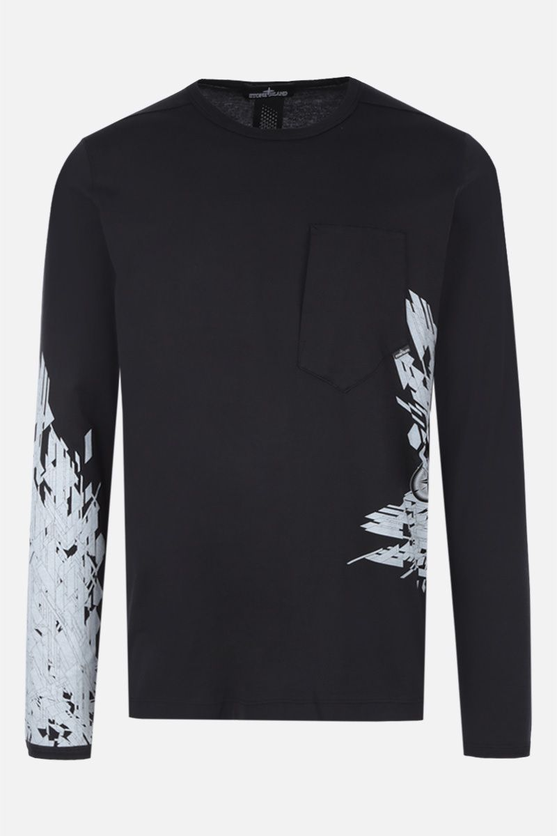 STONE ISLAND SHADOW PROJECT: long-sleeved t-shirt in graphic printed cotton Color Black_1