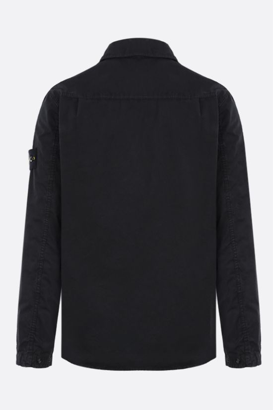 STONE ISLAND: logo badge-detailed cotton shirt Color Black_2