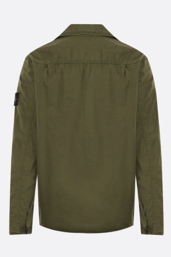 STONE ISLAND: logo badge-detailed cotton shirt Color Green_2