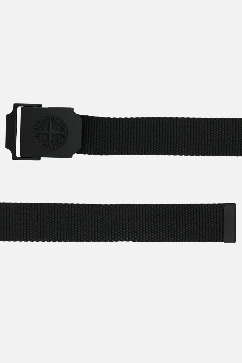 STONE ISLAND: logo buckle-detailed fabric belt Color Black_2