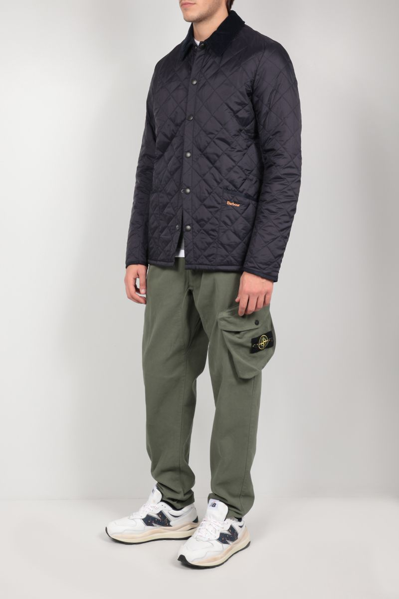 STONE ISLAND: logo badge-detailed cotton joggers Color Green_2