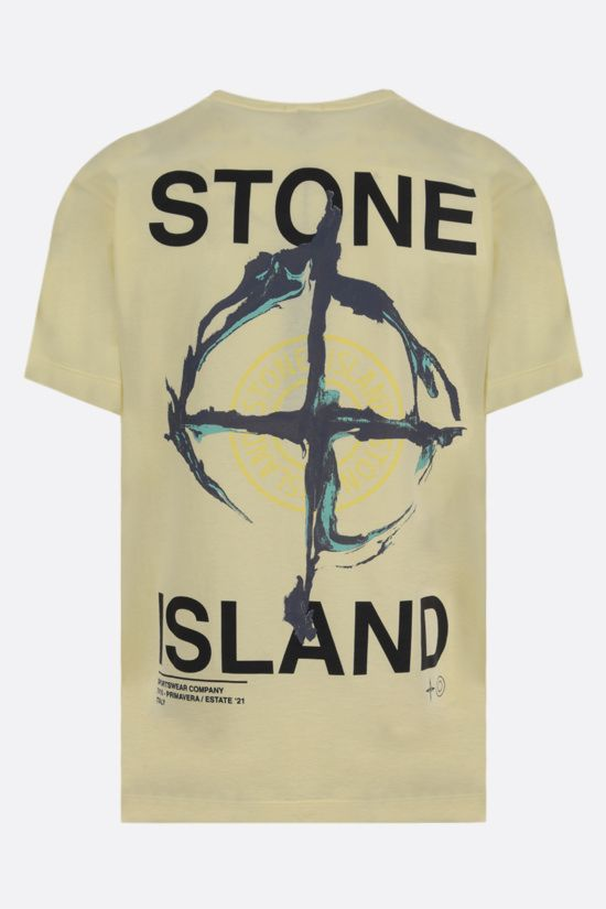 STONE ISLAND: logo print cotton t-shirt Color Yellow_2