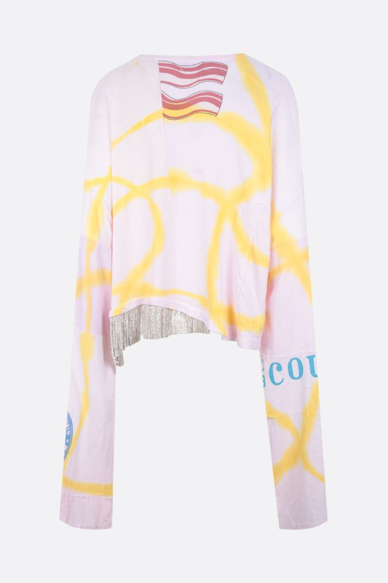 COLLINA STRADA: t-shirt oversize in cotone upcycled con strass Colore Pink_2