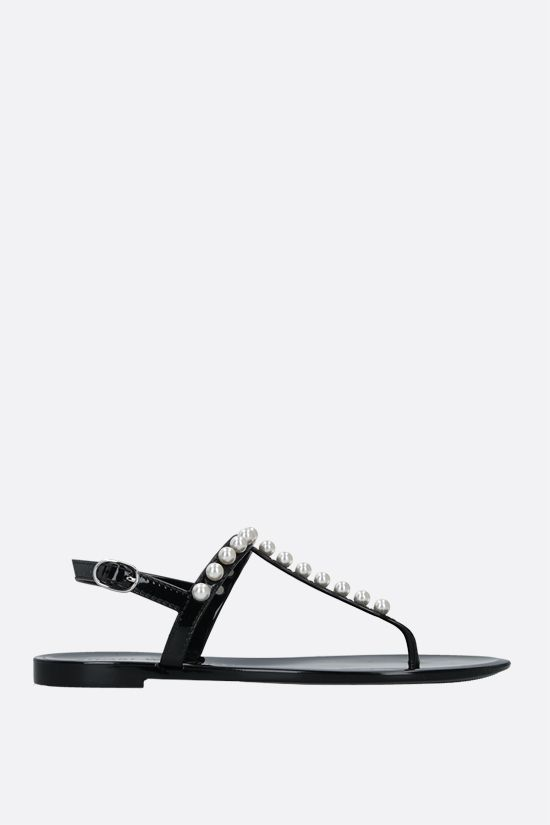 STUART WEITZMAN: Goldie Jelly shiny rubber thong sandals Color Black_1