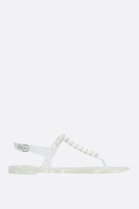 STUART WEITZMAN: Goldie Jelly rubber thong sandals Color Neutral_1