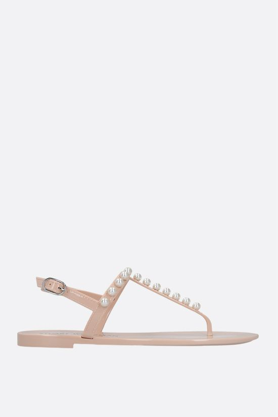STUART WEITZMAN: Goldie Jelly shiny rubber thong sandals Color Neutral_1
